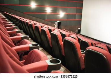 Lviv, Ukraine - 03.31.2019: Planeta Kino cinema theatre before morning presentation