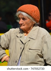 LVIV UKRAINE 09 09 17: Portrait of old poor woman. The political and economic situation in the Ukraine does not allow for any kind of welfare state