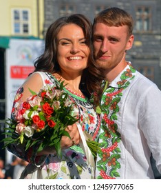 LVIV UKRAINE 09 09 17: Young couple in Vyshyvanka is the colloquial name for the embroidered shirt in Ukrainian national costume. Vyshyvanka is distinguished by local embroidery features