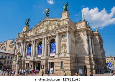 Lviv, Ukraine - 14 of August, 2018: Lviv National Academic Opera and Ballet Theatre named after Solomiya Krushelnytska