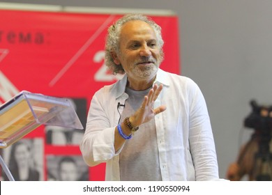 LVIV, UKRAINE – 20 SEPTEMBER, 2018: Journalist and host of Ukrainian TV shows  Savik Shuster during the forum of  Book Publishers «25 Book Forum» at the Potocki Palace