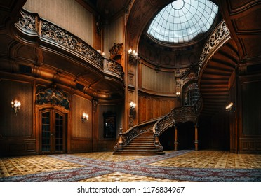 Lviv, Ukraine - 23 September, 2016: House of Scientists. Interior of the magnificent mansion with ornate grand wooden staircase in the great hall. A former national casino.