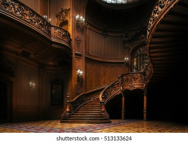 Lviv, Ukraine - 23 September, 2016: House of Scientists. Magnificent mansion with ornate grand wooden staircase in the great hall. A former national casino.