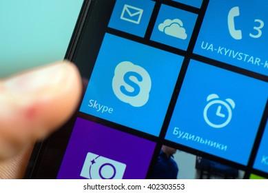 LVIV, UKRAINE - apr 06, 2016:  Microsoft Lumia 640 Windows Phone with Skype icon on screen