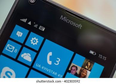 LVIV, UKRAINE - apr 06, 2016:  Microsoft Lumia 640 Windows Phone with icon on screen