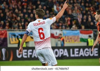 LVIV, UKRAINE - APR 28:  Daniel Carrico in action during the semi finals UEFA Europa League match between Shakhtar vs FC Sevilla (Spain), 28 April 2016, Arena Lviv, Ukraine