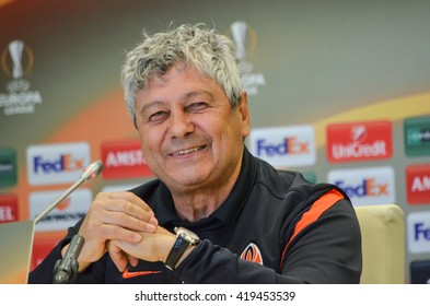LVIV, UKRAINE - APR 28: Mircea Lucescu before the semi finals UEFA Europa League match between Shakhtar vs FC Sevilla (Spain), 28 April 2016, Arena Lviv, Ukraine