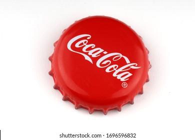 LVIV, UKRAINE - April 06, 2020: Coca cola empty used red cap