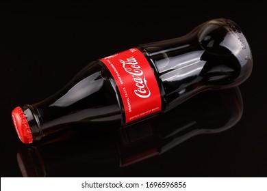 LVIV, UKRAINE - April 06, 2020: Coca cola a popular soft drink