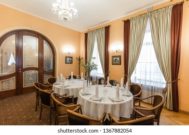 Lviv, Ukraine - April 11, 2019: Interior of  Restaurant «Vienna coffee house» in Lviv, Ukraine.