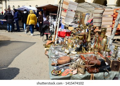 LVIV, UKRAINE - APRIL 17, 2019: Old flea and gift street market in the city of Lviv, Ukraine. Tourist attractions of the city of Lviv. Sale of antiques or present