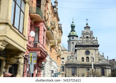 LVIV, UKRAINE - APRIL 17, 2019: Bernardine Church and Monastery (1600 - 1620) in Lviv. Lviv is a city in western Ukraine - Capital of historical region of Galicia. Lviv historic city center is on the