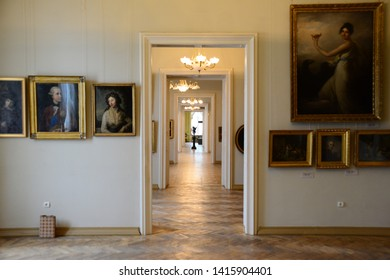 LVIV, UKRAINE - APRIL 17, 2019: Facade of the Potocki Palace interior at the 18th of June 2017 in Lviv, Ukraine. In the 2000s the President of Ukraine appropriated the palace as one of his residences