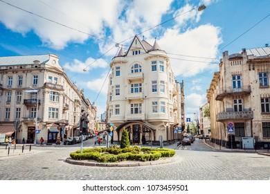 Lviv, Ukraine - April 18, 2018:  Hotel in Lviv