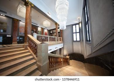 Lviv, Ukraine - April 18, 2019: Bank Hotel interioir in Lviv, Ukraine.