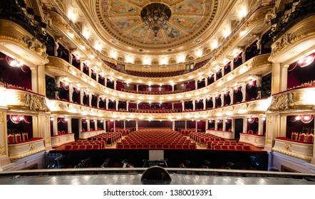 Lviv, Ukraine - April 18, 2019: Lviv opera house interior