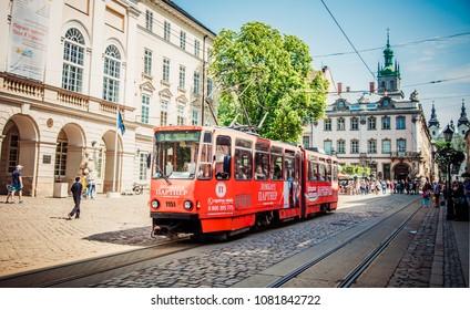 Lviv, Ukraine - April 28, 2018: Tram on Market square