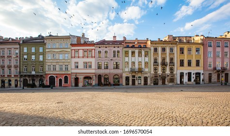 Lviv, Ukraine - April 4, 2020: Empty Lviv streets during COVID-19 Quarantine. Market square in Lviv