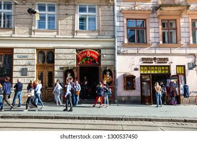Lviv, Ukraine  - April 8, 2018: Lviv market square