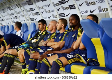 LVIV, UKRAINE - AUG 5: Fenerbahce bench during the UEFA Champions League match between Shakhtar vs Fenerbahce, 5 August 2015, Arena Lviv, Lviv, Ukraine