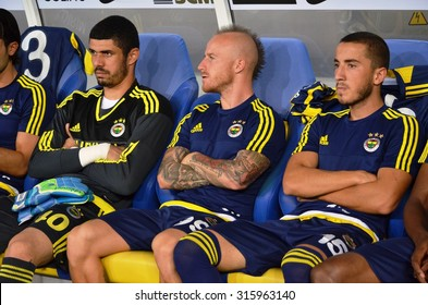LVIV, UKRAINE - AUG 5: Fenerbahce bench with the players during the UEFA Champions League match between Shakhtar vs Fenerbahce, 5 August 2015, Arena Lviv, Lviv, Ukraine