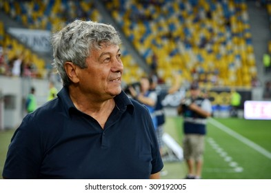 LVIV, UKRAINE - AUG 5: Shakhtar head coach Mircea Lucescu before the UEFA Champions League match between Shakhtar vs Fenerbahce, 5 August 2015, Arena Lviv, Lviv, Ukraine