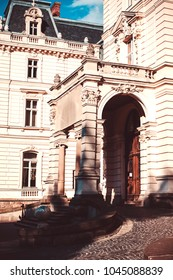 Lviv, Ukraine - August 10, 2017: Potocki palace in Lviv in summer