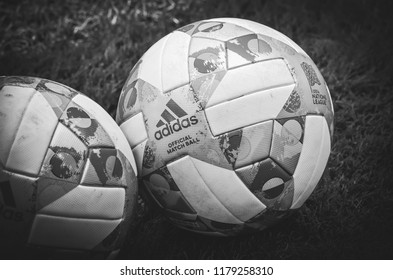 Lviv , Ukraine - August 10, 2018: The official ball of the UEFA Nations League close-up lies on the lawn during group selection of the UEFA Nations League on the Arena Lviv, Ukraine