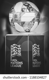 Lviv , Ukraine - August 10, 2018: The official balls of the UEFA Nations League stands on the pedestal close-up during group selection of the UEFA Nations League, Ukraine