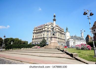Lviv, Ukraine - August 10 2019. Adam Mickiewicz Monument in Lviv, Ukraine. Lviv is a city in western Ukraine - Capital of historical region of Galicia. City center is on the UNESCO World Heritage List