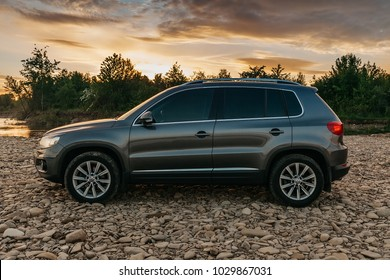 LVIV, UKRAINE - August 11, 2017: Volkswagen Tiguan near the river Stryi