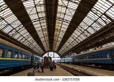Lviv, Ukraine - August 12, 2017: Railway platform of the Lvov railway station