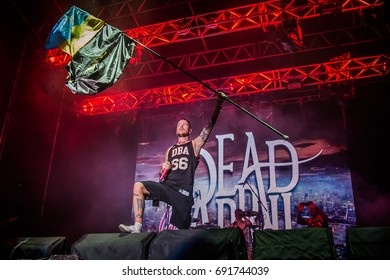 LVIV, UKRAINE - AUGUST 14-16, 2015: Dead by April at ZaxidFest 2015 festival in Lviv