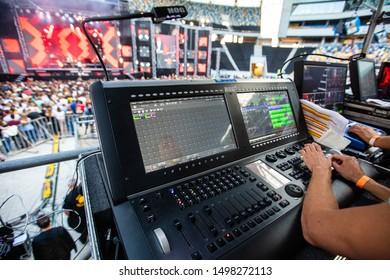 Lviv, Ukraine - August 17, 2019:  Sound engineer equipment on Ukrainian Song Project 2019