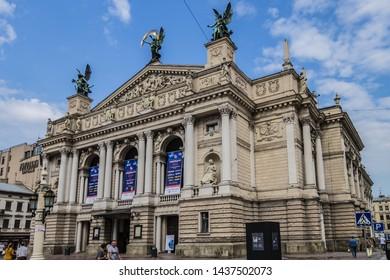 LVIV, UKRAINE - AUGUST 2, 2018: View of Solomiya Krushelnytska State Academic Opera and Ballet Theatre in Lviv. Lviv theatre was built in Viennese neo-Renaissance style in 1897 - 1900.