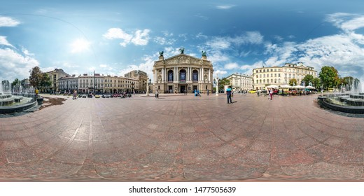 LVIV, UKRAINE -  AUGUST 2019: full seamless spherical hdri panorama 360 degrees angle view on central square of old town with opera theatre in equirectangular projection with zenith, VR AR content