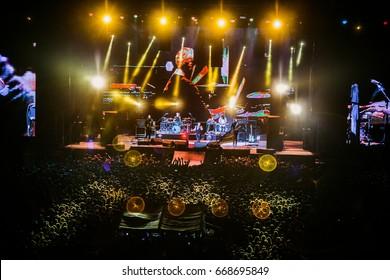 LVIV, UKRAINE - AUGUST 24, 2016: Okean Elzy concert in Lviv at Lviv Arena