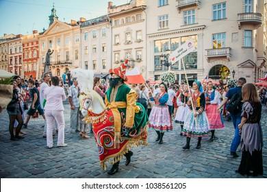 "LVIV, UKRAINE - AUGUST 24-26, 2016: International Folklore Festival ""Etnovyr"""