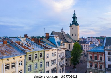 Lviv, Ukraine - August 25, 2020: View on Latin Cathedral in Lviv, Ukraine  from drone