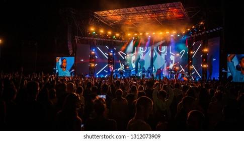 Lviv , Ukraine - August 26, 2017: Ukrainian Song Project 2017. Famous ukrainian band - Antytila