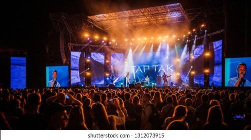 Lviv , Ukraine - August 26, 2017: Ukrainian Song Project 2017.Famous ukrainian band - Tartak