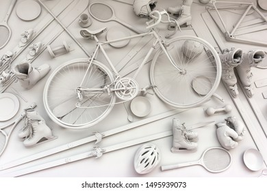 Lviv / Ukraine - August 26, 2019: a bicycle and many other sports equipment are hanging on the wall and painted in one color
