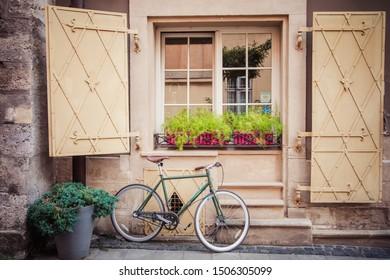 Lviv, Ukraine - August 28, 2019: Bicycle decoration near cafe, hotel in Lviv