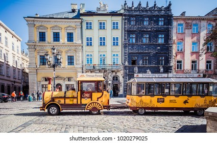 Lviv, Ukraine - August 30, 2017: Sightseeing train in Lviv