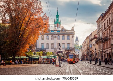Lviv, Ukraine - August 30, 2017: Market square
