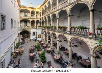 LVIV, UKRAINE  AUGUST 31 2017: View of Italian Courtyard at old town in the center Lviv city, Ukraine.