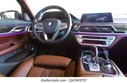 Lviv, Ukraine - August 6, 2018: BMW car interior