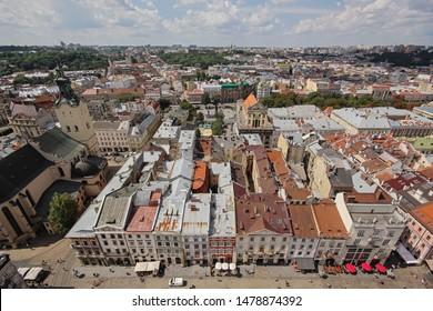 Lviv, Ukraine - August 8 2019. Lviv market square. Rynok or Market Square is a central square of the city of Lviv, Ukraine.