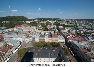 Lviv, Ukraine, circa august 2016: View from a high tower in Lviv, Ukraine.