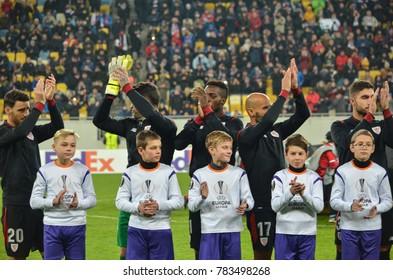 LVIV, UKRAINE - December 07, 2017: Athletic Bilbao FC players thank fans during the UEFA Europa League match between Zorya Luhansk vs Athletic Bilbao (Spain), Ukraine